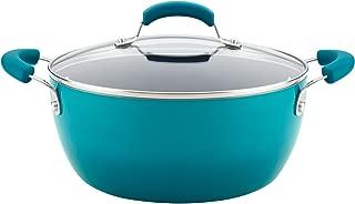 Rachael Ray 17661 Brights Nonstick Dish/Casserole Pan with Lid, 5.5 Quart, Marine Blue Gradient
