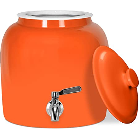Geo Sports Porcelain Ceramic Crock Water Dispenser, Stainless Steel Faucet, Valve and Ceramic Lid Included. Fits 2 to 5 Gallon Jugs. BPA & Lead Free (Solid Orange)