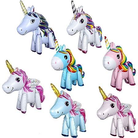 8 Pezzi 3D Unicorn Balloons Palloncini Animali a Piedi Palloncini Foglio di Alluminio per la Festa di Compleanno Decorazioni Festa di Nozze Forniture Baby Shower Decorazioni, 8 Stili