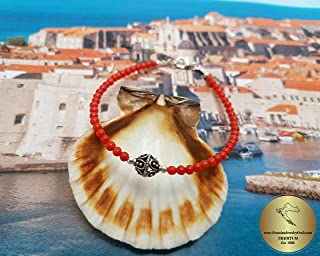 Mediterranean Small Round Bead Red Coral Bracelet, Traditional Croatian Filigree Ball Bracelet, Dubrovnik Jewelry *Exp Shipping
