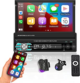 """$149 » Sponsored Ad - Podofo Car Stereo Single Din with D-Play Bluetooth AHD Backup Camera 7"""" flip Out Touch Screen Car Radio MP5..."""