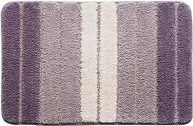 BTYAY Home Modern Minimalist Striped Door Flocking Floor Mats Home Bedroom Bathroom Door Non-Slip Absorbent Foot Mats (Color