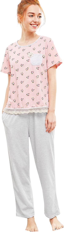SheIn Women's Floral Print Lace Hem Tee & Pants Pajamas Set