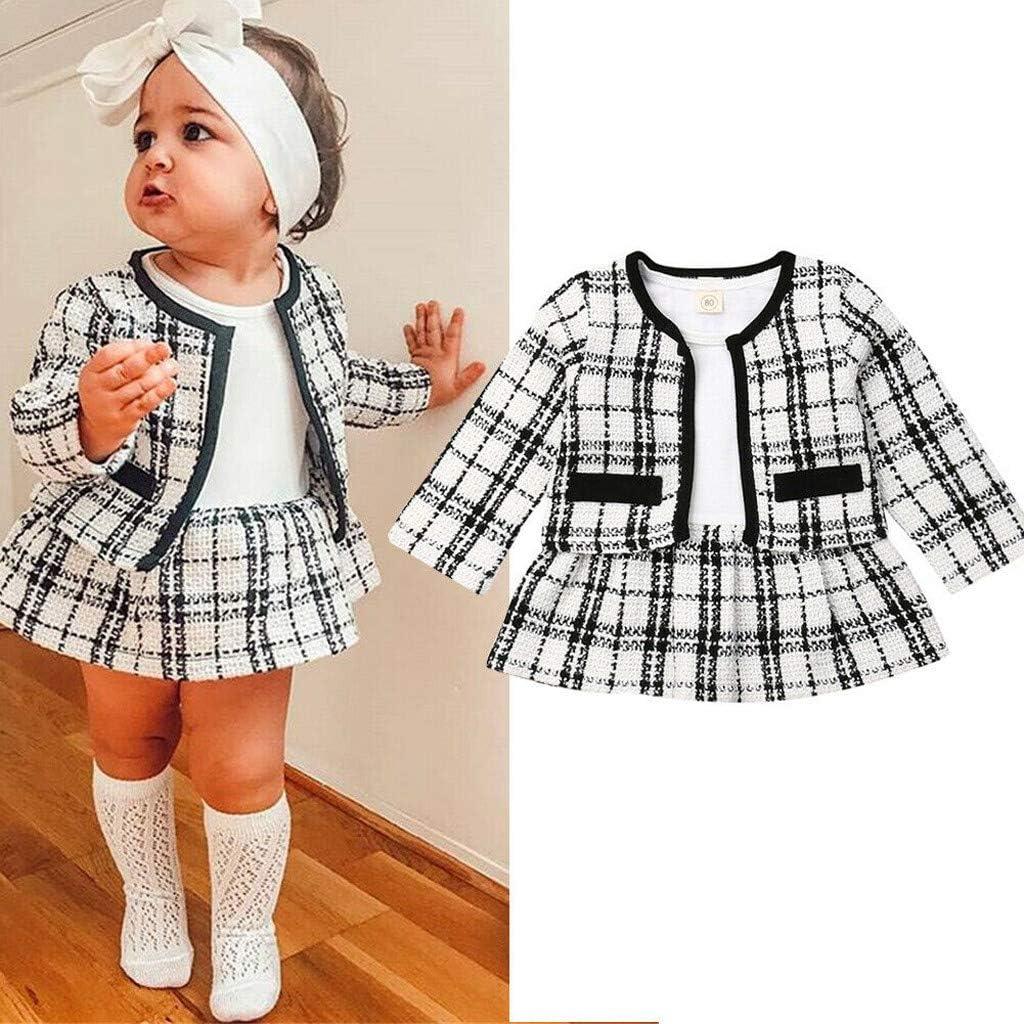 Treillis Jupe Enfant Baohooya Vetement Bebe Fille 1-6 Ans Ensembles Treillis Manches Longues Chic Mode Manteau