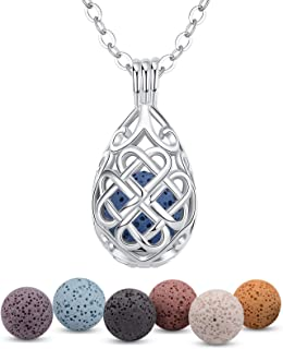 INFUSEU Teardrop Celtic Knot Essential Oil Diffuser Necklace Lava Stone Aroma Therapy Jewelry Set for Women Girl, 7 Pcs Ro...