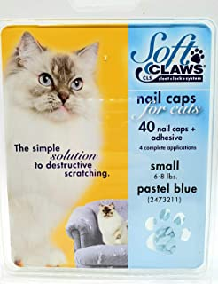 Soft Claws Feline Cat Nail Caps Take Home Kit, Small, Pastel Blue