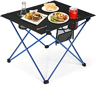 Goplus Portable Camping Table, Lightweight Folding Table with Cup Holders and Carrying Bag, Aluminum Picnic Table Suitable for Camping, Picnic, Outdoor, BBQ, Home