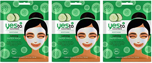 Yes to Cucumbers Calming Paper Mask with Aloe, Chamomile and Green Tea (Pack of 3), 0.67 Oz Each