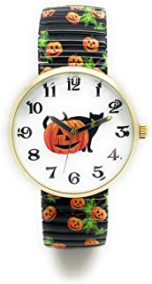 Ladies Novelty Halloween Pumpkin Stretch Elastic Band Fashion Watch Versales Varsales