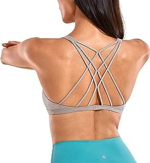 CRZ YOGA Women's Removable Pads Yoga Top Cross Strappy Back Sports Bra