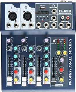 $49 Get 4-Channel Console Controller Mixer with Power Cord for Recording DJ Stage Karaoke Music