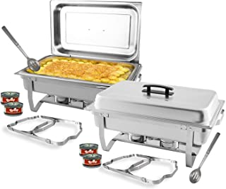 TigerChef 8 Quart Full Size Stainless Steel Chafer with Folding Frame and Cool-Touch Handle Includes 4 Free Chafing Gels Burns 2.5 Hours and 2 Slotted Serving Spoons 2 Pack