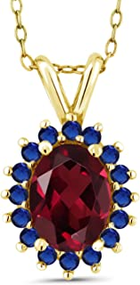Gem Stone King 1.67 Ct Red Rhodolite Garnet Blue Simulated Sapphire 14K Yellow Gold Pendant
