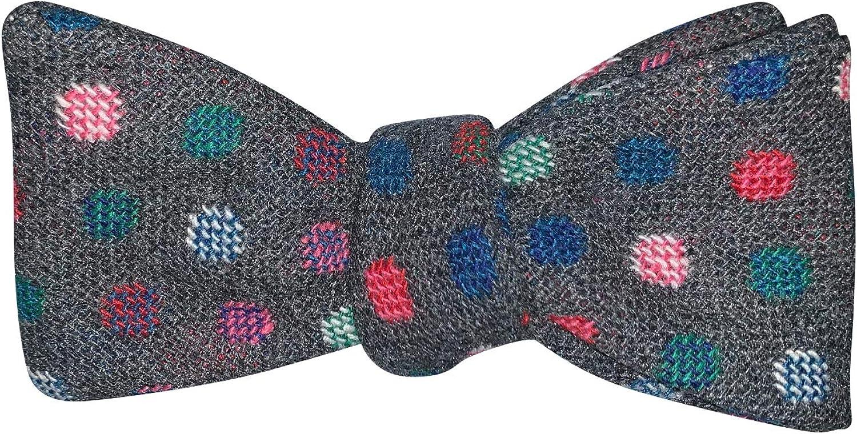 Mens Gray Wool Polka Dot Self Tie Bow Tie Adjustable Length Bowtie By The Ellis Tie Company