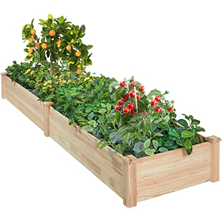 AMERLIFE Raised Garden Bed 8x2 FT Wood Raised Garden Bed Kit Wooden Planting Bed Solid Wood for Vegetable Flower Herb Outdoor Lawn Yard Patio