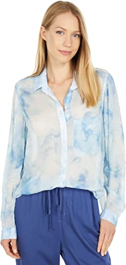 Long Sleeve Rounded Hem Button-Down