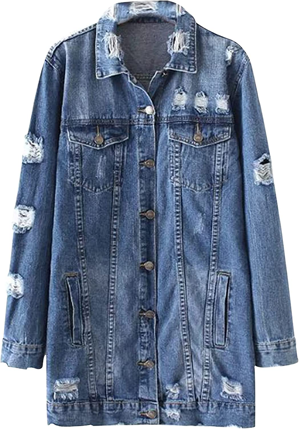 Gihuo Women' s Ripped Distressed Denim Jacket Button Down Long Jean Coat