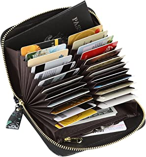 Women's RFID Blocking 24 Slots Card Holder Leather Compact Zipper Accordion Wallet