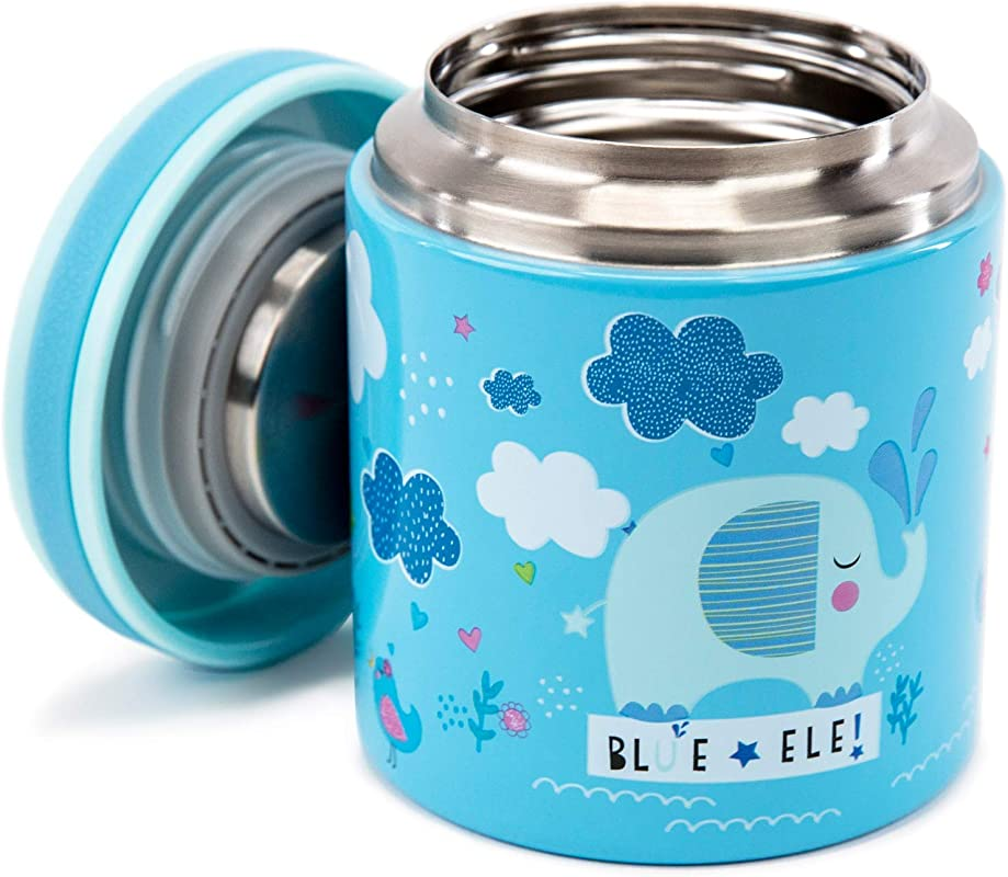 Blue Ele BE02 Vacuum Insulated Food Jar Thermos For Kids BPA Free Lunch Containers Double Wall 304 Food Grade Stainless Steel 14 Oz Keep Hot For 12hr Cold For 24hr Blue With Pattern