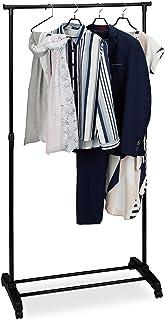 Relaxdays Portant en métal, penderie, porte vêtements, tringle rangement entrée, hauteur réglable 102,5 - 180,5 cm, noir
