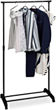 Relaxdays Verrijdbaar kledingrek, stabiele rolgarderobe met legplank, ijzer, in hoogte verstelbaar 102,5-180,5 cm, zwart, ...