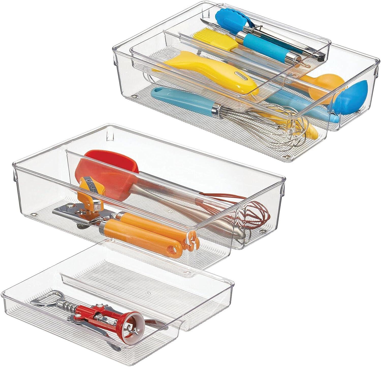 mDesign Cubertero doble para cajones de cocina – Bandeja para cubiertos desplazable con 4 compartimentos – Ideal para utensilios de cocina – transparente