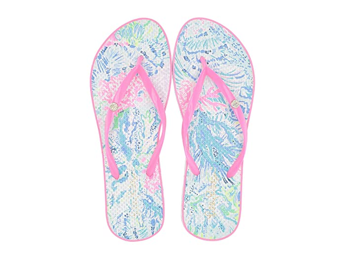 80s Shoes, Sneakers, Jelly flats Lilly Pulitzer Pool Flip-Flop MultiSink or Swim Womens Sandals $38.00 AT vintagedancer.com