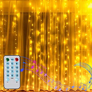 6.6FT X 6.6FT Window Curtain Lights Battery Powered Outdoor Fairy String Light, Sound Activated Music Sync Light Waterproof Waterfall Icicle Lights for Halloween Bedroom Christmas Decor (Warm White)