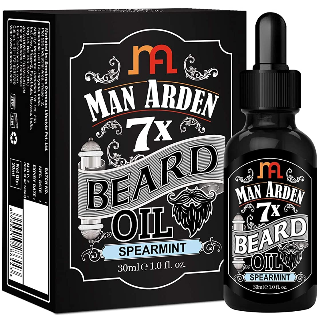 蓄積するタバコ記念碑Man Arden 7X Beard Oil 30ml (Spearmint) - 7 Premium Oils For Beard Growth & Nourishment