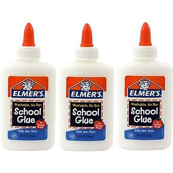 Elmer's Washable No-Run School Glue, 4 oz, 3 Pack