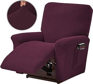 Topchances - Funda reclinable para sillón reclinable de 4 piezas con bolsillo lateral inferior para sala de estar, dormitorio (vino tinto)