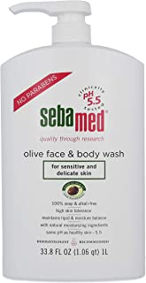 Sebamed Olive Face and Body Wash With Pump for Sensitive and Delicate Skin pH 5.5 Ultra Mild Hydrating Dermatologist Recommended Cleanser 33.8 Fluid Ounces (1 Liter)