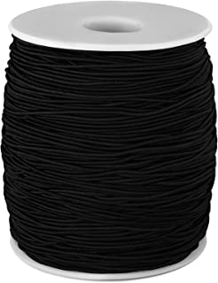 (200 m, Black) - 1 mm Elastic Cord Beading Threads Stretch String Fabric Crafting Cords for Jewellery Making (Black, 200 m)