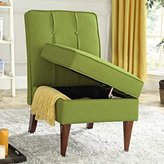 24KF Modern Linen Upholstered Tufted Accent Chair with Storage,Padded Chair -Green