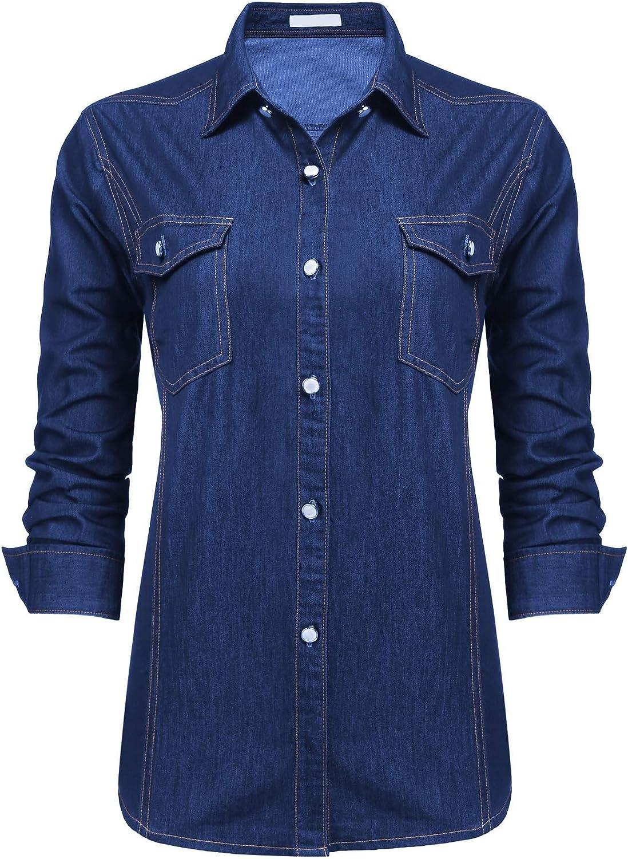 Chainscroll Women's Chambray Shirt Classic Vintage Long Sleeve Button Down Denim Shirt