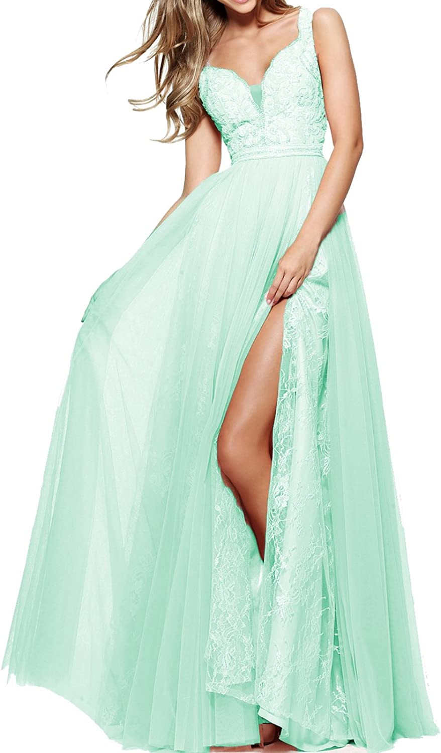 Yilisclothing Women's Off Shoulder Halter A Line Beaded Prom Dress Lace Tulle Evening Gown