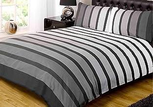 Soho Black Stripe Duvet Cover Quilt Bedding Set, Black White Grey, Single by Rapport
