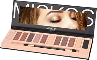 MISKOS 12 Colors Nude Tude Eyeshadow Palette Shimmer Matte Eye Makeup Pallete Set Highly Pigmented Red Dark Naked Eye Shadow Pallet (Shimmer B)