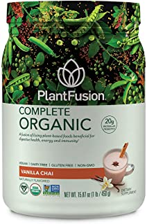 PlantFusion Complete Organic Plant Based Protein & Fermented Foods Powder, USDA Organic, Vegan, Gluten Free...