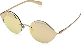 نظارة شمسية للنساء من بولغاري، 0BV6089 20134Z، زهري ذهبي 55 مطفي/ عدسات عاكسة بلون رمادي ذهبي