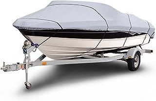 غطاء قارب صيد من باديز B-1201-X2 1200 Denier V-Hull رمادي بطول 35.56 - 40.64 سم (عرض الحزمة حتى 190.52 سم) مقاوم للماء وشد...