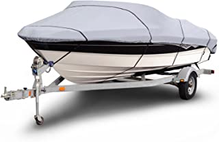 "Budge B-1201-X2 1200 Denier V-Hull Fishing Boat Cover Gray 14'-16' Long (Beam Width Up to 75"") Waterproof, Heavy Duty, UV ..."