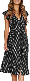 MITILLY Women`s Summer Boho Polka Dot Sleeveless V Neck Swing Midi Dress with Pockets