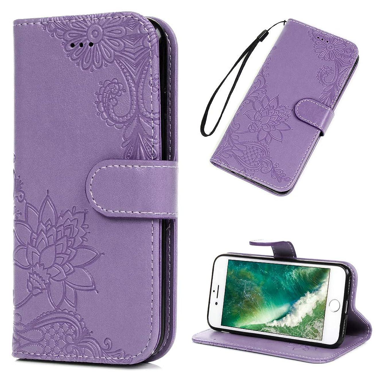 LG Q8 Case, LG V20 Mini Wallet Flip Folio Case Kickstand Card Slots Wrist String 3D Embossed Lotus Flowers Premuim PU Leather Wallet Cover Shockproof Soft TPU Rubber Bumper Slim Phone Case for LG Q8