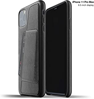 Mujjo Full Leather Wallet Case for Apple iPhone 11 Pro Max   2-3 Card Holder Pocket   Premium Soft Supple Leather, Unique Natural Aging Effect (Black)