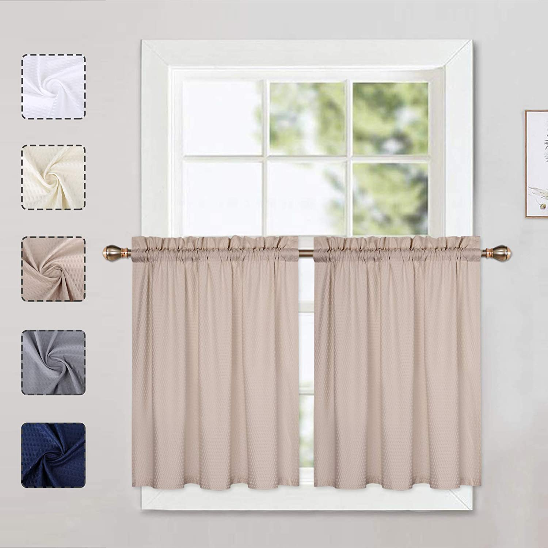 per piccole finestre set da 2 76 x 61 cm con parte superiore a fessure con struttura a rilievo colore: bianco a met/à altezza Tende da cucina con motivo a cialde e cialde LinTimes