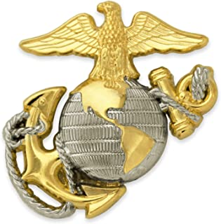 U.S. Marine Corps USMC Emblem Silver and Gold Military Lapel Pin