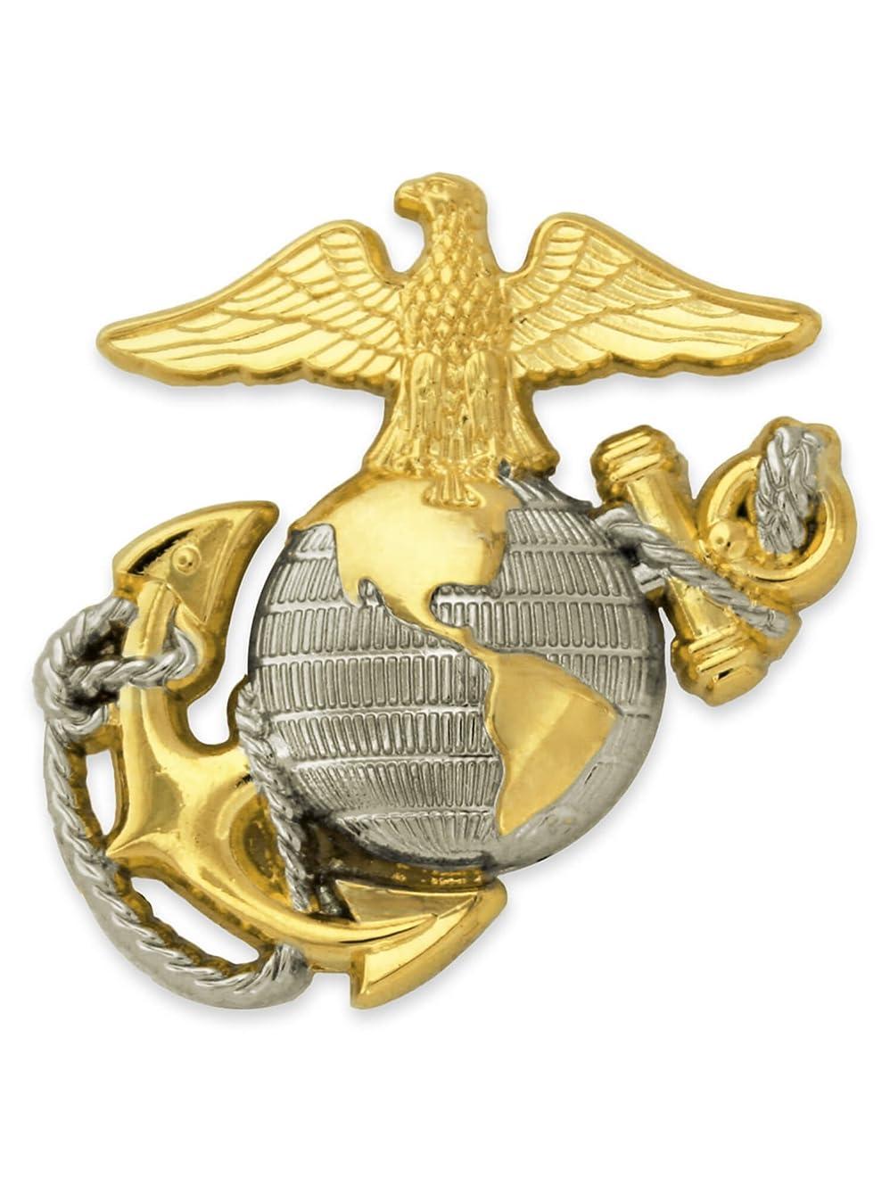 敬の念役立つ反毒Pinmartの米国海兵隊エンブレムMilitaryラペルピン 25 ゴールド