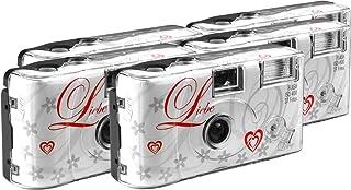 TopShot Love wit wegwerpcamera/bruiloftscamera (27 foto's, flits, 5-pack)