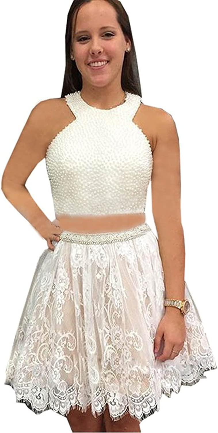 Engerla Women's Mini Pearls Halter Two Piece Lace Backless Homecoming Dress
